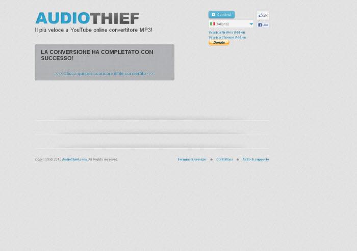 YOUTUBE - AUDIOTHIEF - CONVERTITORE MP3 SCARICA