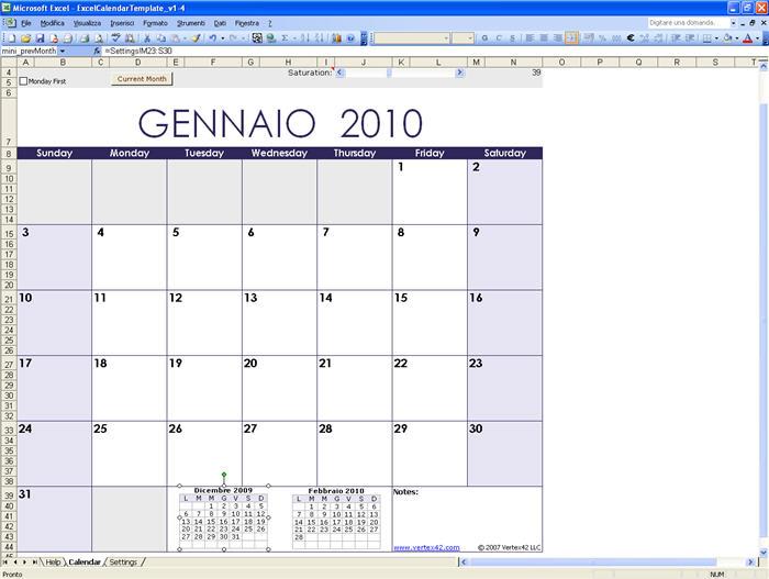 Calendario Per Appunti.Excel Calendar Template Download Gratis