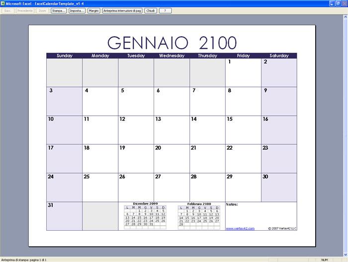 Esempio Calendario.Excel Calendar Template Download Gratis