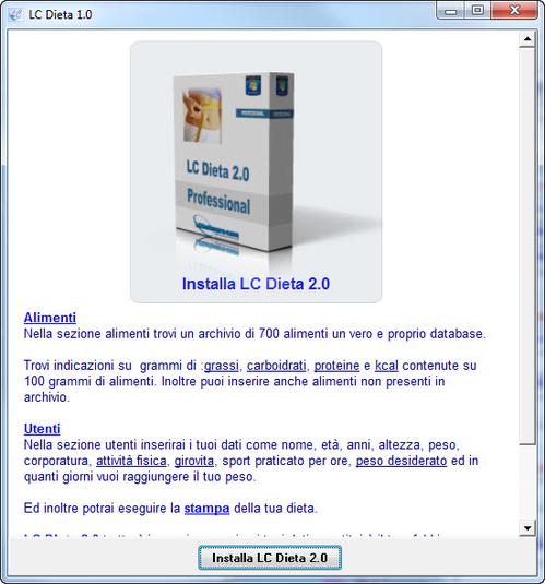 programma dietetico 6 0 software