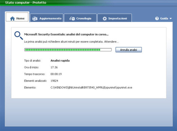 Microsoft security essentials and windows defender installation.