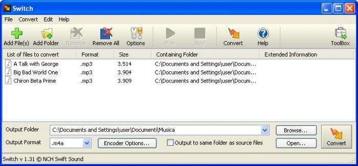 switch audio file conversion software